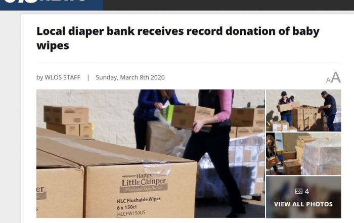 Diaper Bank Receives Record Donation of Baby Wipes