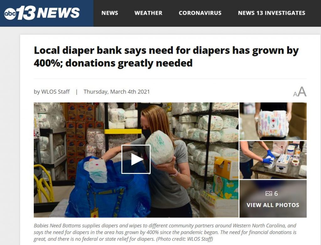 March 4, 2021 - Diaper Need Grows by 400% Due to Pandemic