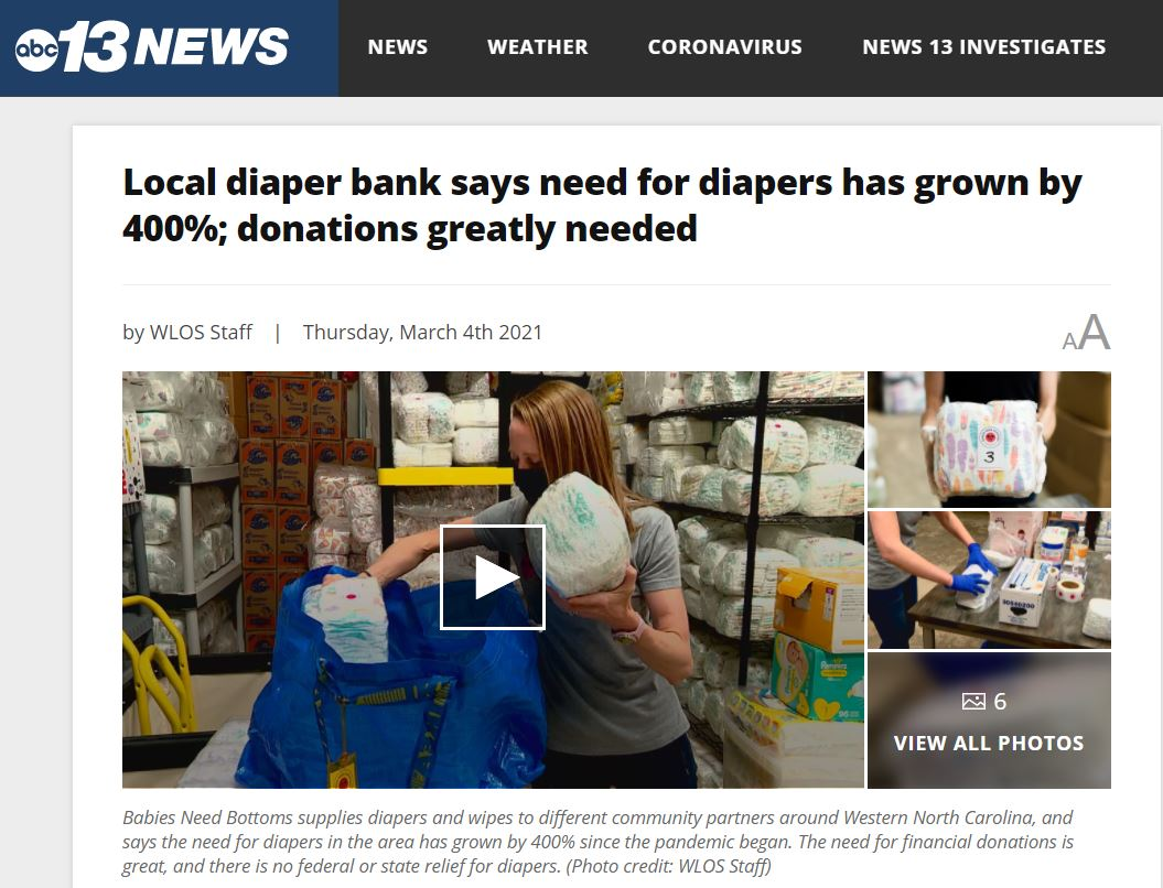 Diaper Need Grows by 400% Due to Pandemic